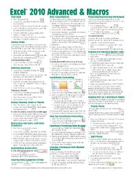 Microsoft Excel 2010 Advanced & Macros Quick Reference Guide (Cheat Sheet of Instructions, Tips & Shortcuts – Laminated Card)