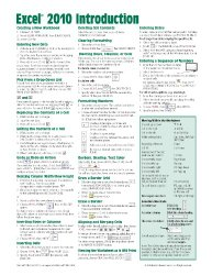 Microsoft Excel 2010 Introduction Quick Reference Guide (Cheat Sheet of Instructions, Tips & Shortcuts – Laminated Card)