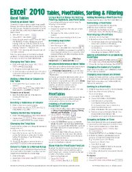 Microsoft Excel 2010 Tables, PivotTables, Sorting & Filtering Quick Reference Guide (Cheat Sheet of Instructions, Tips & Shortcuts – Laminated Card)