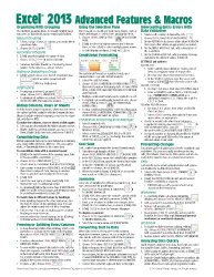 Microsoft Excel 2013 Advanced & Macros Quick Reference Guide (Cheat Sheet of Instructions, Tips & Shortcuts – Laminated Card)