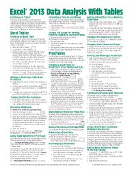Microsoft Excel 2013 Data Analysis with Tables Quick Reference Guide (Cheat Sheet of Instructions, Tips & Shortcuts – Laminated Card)