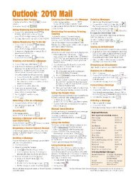 Microsoft Outlook 2010 Mail Quick Reference Guide (Cheat Sheet of Instructions, Tips & Shortcuts – Laminated Card)