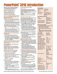 Microsoft PowerPoint 2016 Introduction Quick Reference Guide – Windows Version (Cheat Sheet of Instructions, Tips & Shortcuts – Laminated Card)