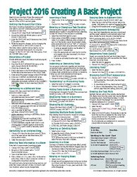 Microsoft Project 2016 Quick Reference Guide Creating a Basic Project – Windows Version (Cheat Sheet of Instructions, Tips & Shortcuts – Laminated Card)