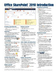 Microsoft SharePoint 2010 Quick Reference Guide: Introduction (Cheat Sheet of Instructions, Tips & Shortcuts – Laminated Card)