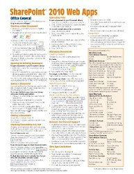 Microsoft SharePoint 2010 Web Apps Quick Reference Guide (Cheat Sheet of Instructions, Tips & Shortcuts – Laminated Card)