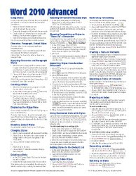Microsoft Word 2010 Advanced Quick Reference Guide (Cheat Sheet of Instructions, Tips & Shortcuts – Laminated Card)