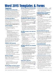 Microsoft Word 2013 Templates & Forms Quick Reference Guide (Cheat Sheet of Instructions, Tips & Shortcuts – Laminated Card)